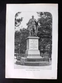 Willoughby Australia 1886 Antique Print. Statue of Prince Albert at Sydney